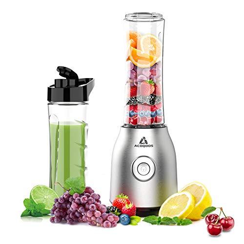 ACOQOOS Smoothie Mixer Maker, Mini Standmixer für Smoothie, Shakes, Eis und Tiefkühlfrüchte, mit 2 Tritan BPA-Freien 600ml Mixbechern und Reinigungsbürste, 400W