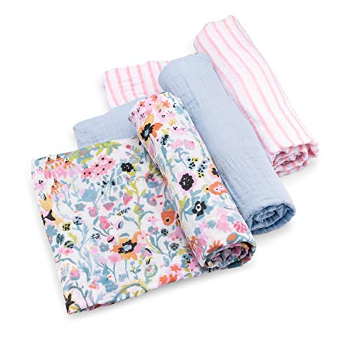 Parker Baby Swaddle Blankets - 3 Pack of 100% Cotton Muslin Swaddle Blankets for Baby Girls - Blossom Set