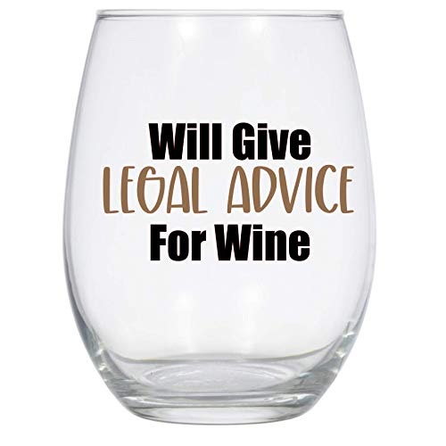 Will Give Legal Asesoramiento para el Vino, Copa de vino de 11 onzas, Copa de vino de abogado, regalo de abogado, divertido vaso de vino de abogado