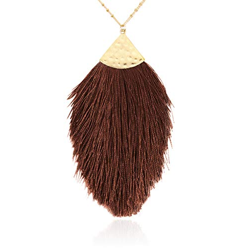 RIAH FASHION Antique Bohemian Silky Thread Fan Tassel Statement Necklace - Vintage Gold Feather Shape Strand Fringe Lightweight Long Chain (Feather Fringe - Brown)
