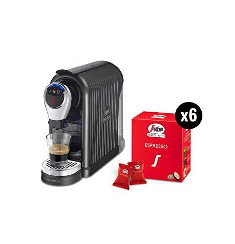 Segafredo Zanetti Coffee System - Macchina per Caffè Espresso 1 Plus Grigia, Compatta, Intuitiva ed Elegante con 60 Capsule Espresso Originali Segafredo, Aroma Equilibrato e Cremoso