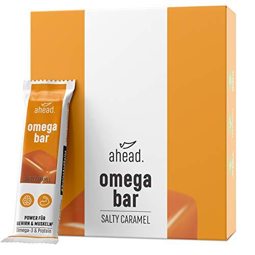 ahead OMEGA BAR 12er Box Energieriegel mit DHA Omega-3 für die Gehirnleistung¹ – Proteinriegel mit Hafer und Whey-Protein für Alltagshelden und Athleten – Salty Caramel, 12er Pack(12x50g)