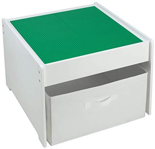Fridakids 2in1 Spieltisch aus MDF-Holz, Bauplatten kompatibel für Bausteine, inklusive Aufbewahrungsbox. Platten: (Grün)