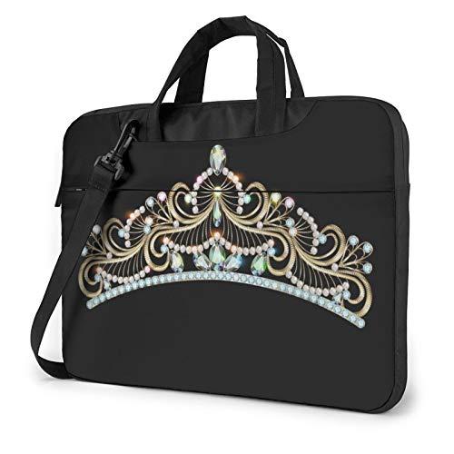 Princess Gold Crown Head Laptop Shoulder Messenger Bag,Laptop Shoulder Bag Carrying Case with Handle Laptop Case Laptop Briefcase 13 Inch Fits 13 inch Netbook/Laptop