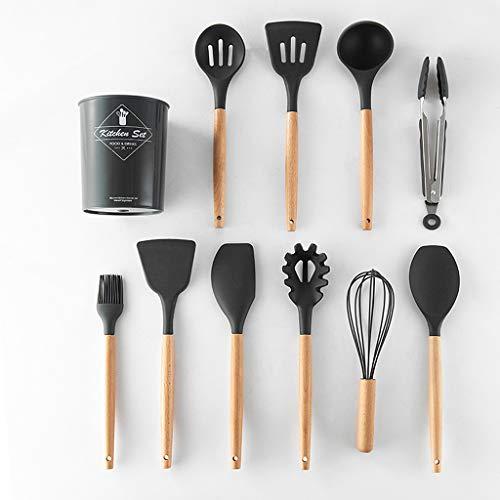 Ensemble D'ustensiles de Cuisine en Silicone de 11 Pièces, Avec Poignées en Bois, Ensemble de Cuisine Spatules en Silicone Tout Usage, Ensemble D'ustensiles de Cuisine en Bois, Batterie de Cuisine