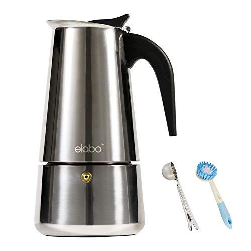 elabo Stovetop Espreeso Machine and Moka Pot for Gas or Electric Ceramic Stovetop, Italian Espresso Coffee Shot Maker for Italian Espresso, Cappuccino and Latte, Stainless Steel, 9 Cups