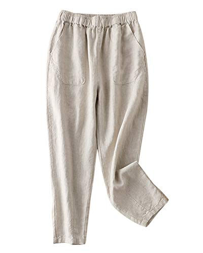 IXIMO Women's 100% Linen Cropped Pants Elastic Waist Ankle Length Tapered Pants Beige S