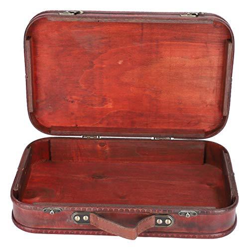 Buachois Maleta Retro de Madera Y Cuero Maleta Decorativa Antigua Caja de Madera Vintage Equipaje de Mano para Accesorios de Fotografía