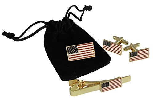 Official American Flag Jewelry Set- Lapel Pin + Cufflinks + Tie Bar- Hard Enamel with Dimensions of USA Flag 13 Stars 50 Stripes (Gold Tone)