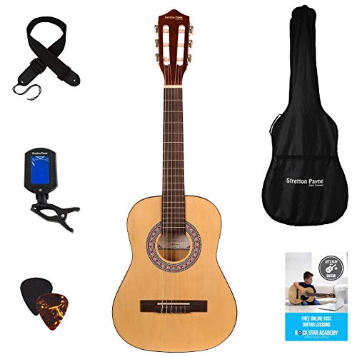 Stretton Payne Konzertgitarre, Klassisches Gitarrenpaket, 1/2 Größe (34 Zoll), Alter 5 bis 8, Klassische Nylonsaiten-Kindergitarre im Paket, Natur