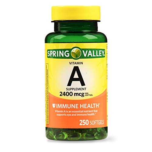 Spring Valley Vitamin A Softgels, 2400mcg, 250 Count