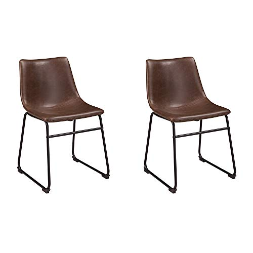 Signature Design by Ashley Mid Century Centiar Dining Bucket Chair Set of 2, Black and Brown