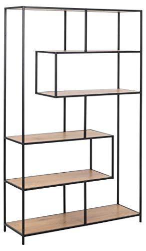 MJC Seaford 81311 - Estantería (4 estantes, roble salvaje, estructura de metal), color negro