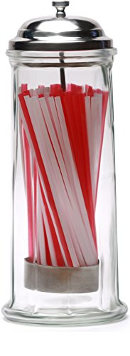 "Circleware Retro Old Fashioned Glass Straw Dispenser Holder with Metal Lid and Red & White Beverage Drinking Tubes Included, Holds Pencils and Chopsticks, 10.8"" H x 4.1"" W, Vintage Utensil Jar"