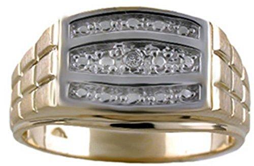 Anillo de diamante para hombre, oro amarillo o blanco de 14 quilates