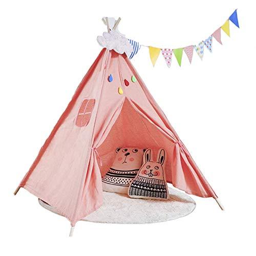 HB.YE Tipi - Tipi infantil con alfombra de suelo, decoración de nube y banderas, tienda plegable para jardín interior y exterior – Rosa