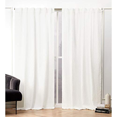 ikea home curtain panels Nicole Miller Textured Matelassé Curtain Panel, 50x84, Snowflake, 2 Panels