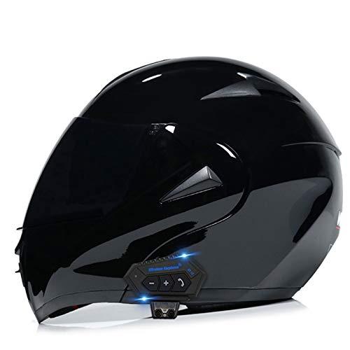 ZhangHai Casco de Moto Bluetooth Integrado Flip Up Casco Moto Integral Modular Casco Certificación ECE con Doble Visera Casco Motocross para Hombre Y Mujer Adulto Motocicleta Casco Scooter