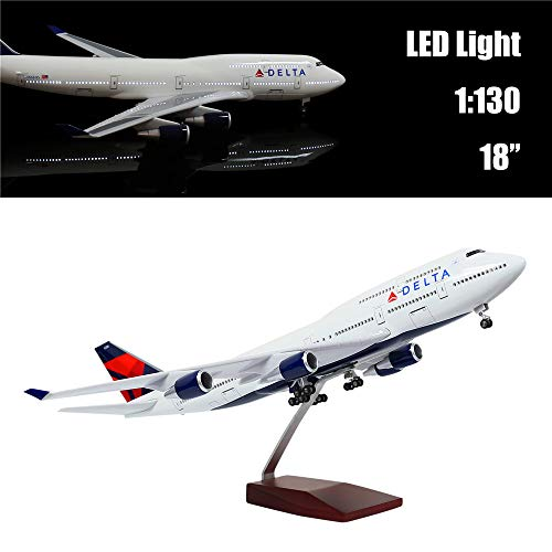 """24-Hours 18"""" 1:130 Airplane Scale Model Delta Boeing 747 with LED Light(Touch or Sound Control) for Decoration or Gift"""