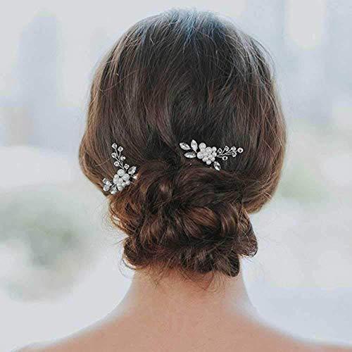 Jovono Hochzeits-Haarnadeln Brautschmuck Haarspangen Zubehör für Frauen und Mädchen (2 Stück)