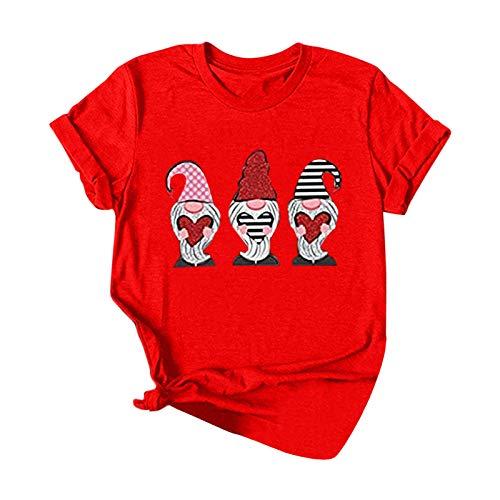 Damen Shirt Sommer Kurzarm Tops Rundhals Gesichtsloser Alter Mann Druck Bluse Valentinstag Weihnachten Oberteil Casual Große Größen T-Shirts