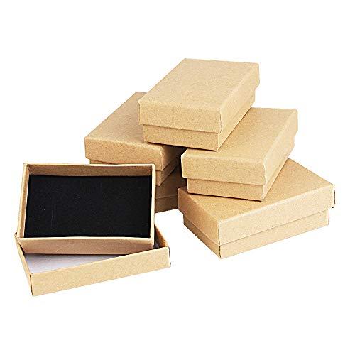 Kbnian 24pcs Cajas de Regalo Rectangulares 8 x 5 x 2,8 cm Papel Kraft Cajas de Cartón con Espuma para Joyeria de Boda/Cumpleaños/Fiesta, Pendientes, Pulseras, Anillos - Marrón