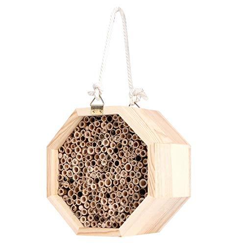 Holzbienenhaus, natürliche Kerzenholz Holz hängende Insekten Hotels Bug Room Shelter Gartenhaus Rohrnest für Marienkäfer, Biene, Schmetterling, Käfer Outdoor Garden Dekorativ