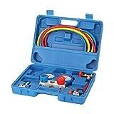 KKmoon Set di Manometri Doppi del Collettore Kit di Strumenti per la Misurazione della pressione dell'attrezzatura di Refrigerazione con 3 Tubi di Ricarica per R410A R22 R404A R134A