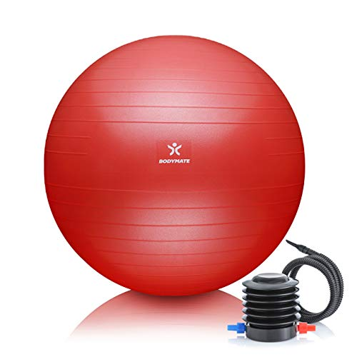 BODYMATE Gymnastikball mit GRATIS E-Book inkl. Luft-Pumpe Pepper-RED 85cm
