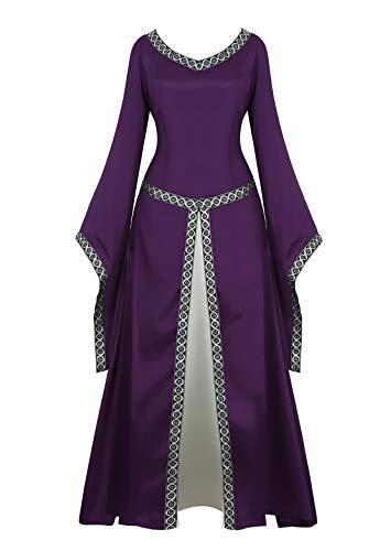 Medieval Dress for Women Renaissance Costume Dress Irish Over Long Dresses Cosplay Retro Gown Purple X-Large