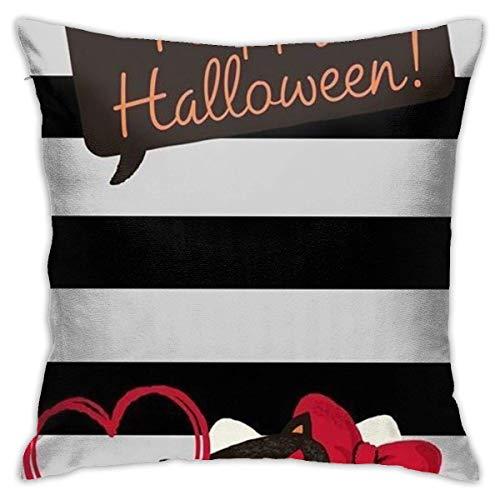 ChenZhuang Funda de cojín de Hello Kitty's Halloween decorativa funda de almohada sofá de coche suave 18 x 18 pulgadas