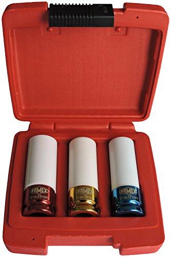 Famex speciale inzetstukken voor wielbouten, 12,5 mm (1/2 inch)-aandrijving, 3-delig