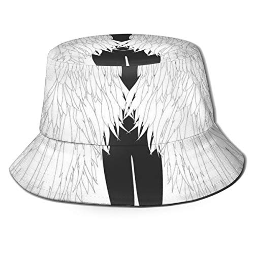 Unisex Fisherman Cap,Back View of an Angel Woman Archaic Sacred Creatures Heavenly Print,Travel Beach Hat