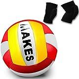 Pelota Voleibol y Rodilleras para Volleyball Balón Tacto Suave Talla 5 Tamaño y Peso Oficial Unisex Adulto, Interiores o al Aire Libre
