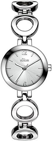 s. Oliver–Reloj de cuarzo para mujer con esfera analógica de color negro cuarzo (talla única), color blanco, Plata)