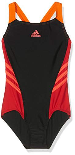 adidas Mädchen Colorblock Badeanzug, Black/Ray Red/Shock Red, 116