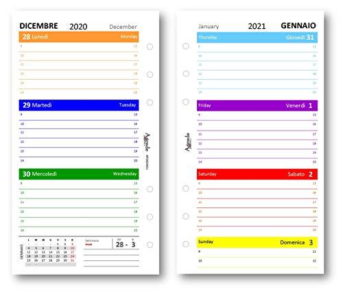 Ricambio agenda 2021 settimanale COLORS 9,5 x 17 bilingua (carta 90 gr) in 7 colori ricambio agenda organizer