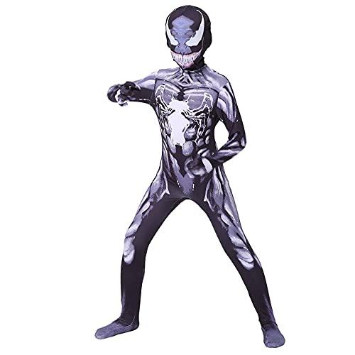 MIANslippers Superheld Black Panther Costume Bodysuit Cosplay Fancy Dress OneSuit Kinder Filme Fans 3D Gedruckt Overall Halloween Rollenspiel Outfit,venom-Kids/3XL(140~150cm)
