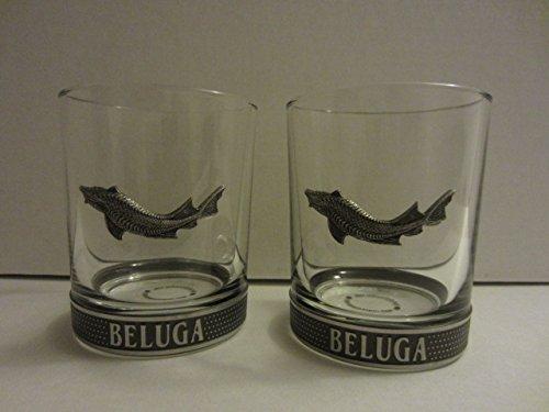 2 Stück Premium Beluga Noble Russian Vodka Lowball Rocks Trinkgläser
