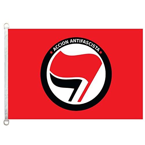 Home King Accion - Bandera antifacista (3 x 5 pies, 100% poliéster, 110 g/m², tejido de punto: Amazon.es: Jardín
