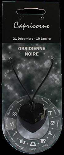 Hanger hart sterrenbeeld - Steenbok - obsidiaan zwart