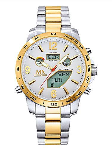 Meister Anker Herren Analog Uhr in Silberfarben mit Armband in Multicolor aus Edelstahl