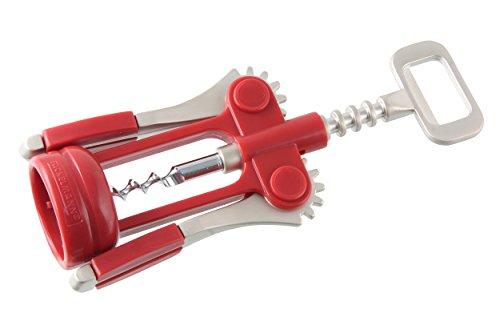 Fackelmann Hebkorkenzieher BORD, funktionaler Weinöffner, Hebelkorkenzieher (Farbe: Rot/Silber), Menge: 1 Stück