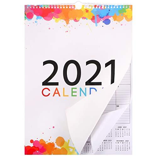 Calendario 2021 Calendario Mensual de Pared Calendario Anual de Planificador Calendario de Programa de Color de Arco Iris para Oficina Hogar, Papel Grueso Encuadernado, 16,5 x 12 Pulgadas