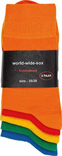 by Riese 5-20 Paar bunte farbige Socken Baumwolle für Damen & Herren Komfortrand (5, 43/46)