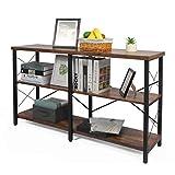 Mesa consola para entrada, entrada industrial / pasillo mesa sofá mesa auxiliar estrecha larga con estantería abierta para sala de estar (marrón rústico)