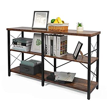 Console Table for Entryway Industrial Entry/Hallway Table Sofa Side Table Narrow Long with Open Bookshelf for Living Room  Rustic Brown