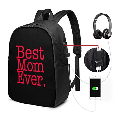 Rucksack mit USB-Schnittstelle Travel Laptop Backpack with USB College School Computer Bag Gifts for Women & Men Fits Best Mom Ever
