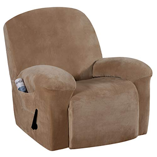 Stretch Recliner Slipcovers 1-Piece Modern Rich Velvet Plush Sofa Furniture Cover Form Fit Stretch Stylish Recliner Cover/Protector Feature Rich and Soft Fabric (Recliner, Camel)