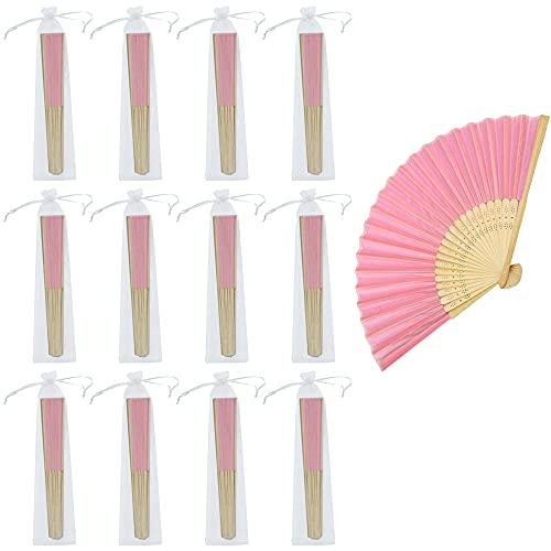 Tucireat Abanicos 12 Piezas Abanico de Bambú Plegable Ventilador Abanico Plegable de...